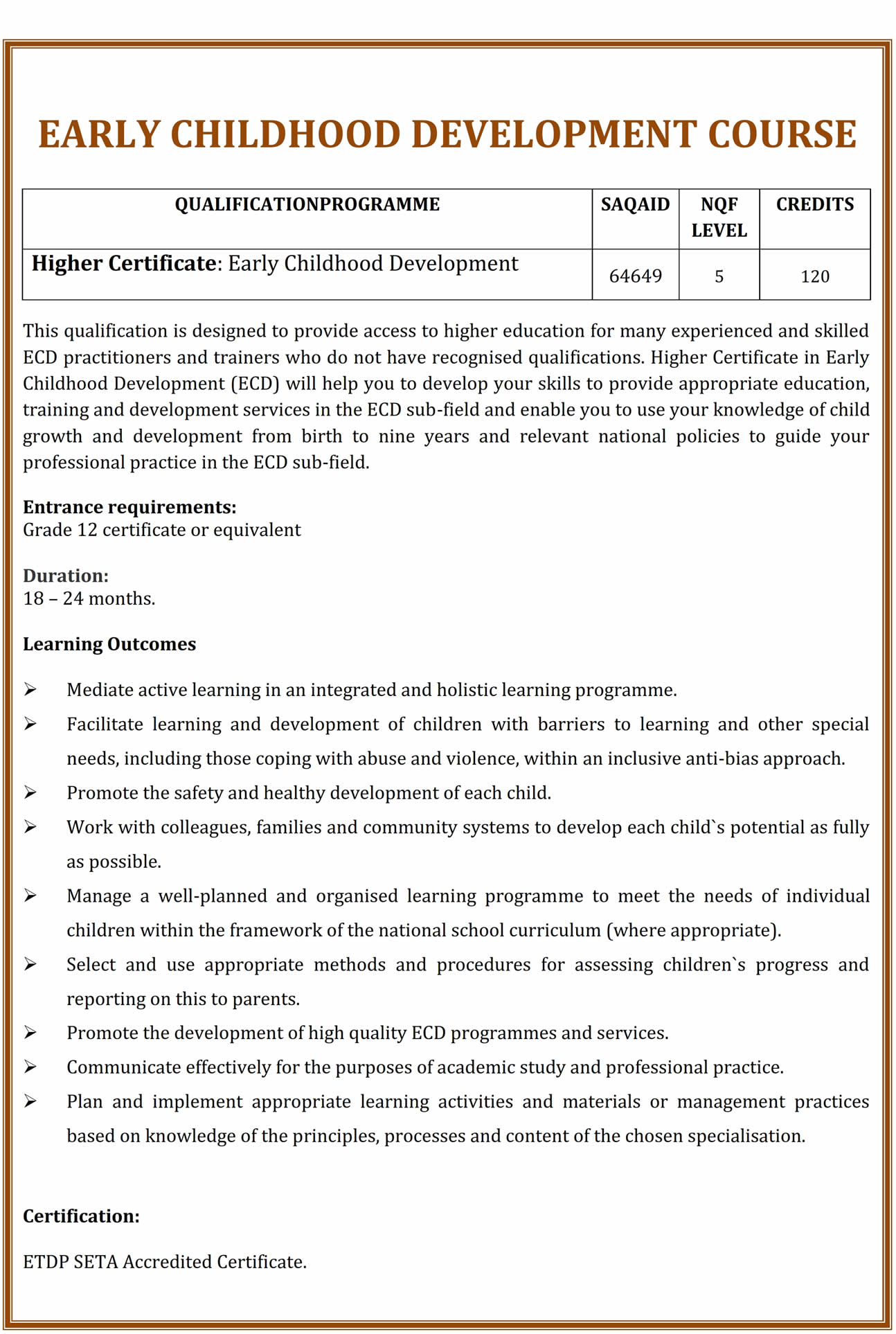 National Certificate Higher Certificate Early Childhood Development